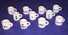 Dollhouse Miniature 1:12 Scale Cup Mug Charm *YOU PICK* Phrases Letters Symbols