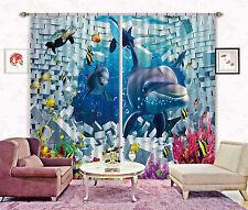 3D Delfin Ziegel 32 Blockade Foto Vorhang Druckvorhang Vorhänge Stoff Fenster DE