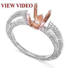 PAVE DIAMOND ENGAGEMENT RING SEMI-MOUNT 14K W GOLD
