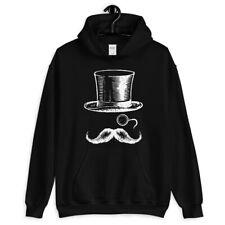 Monocle Man Hoodie - Hoody Men S-3XL - Gift Hipster Top Hat Mustache Vintage Art