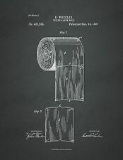 UNITED STATES PATENT OFFICE PRINT TOILET PAPER BATHROOM ART - UNFRAMED