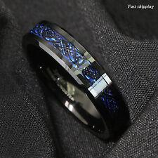 6Mm Tungsten Carbide Ring Black Celtic Dragon Blue carbon fibre Mens Jewelry