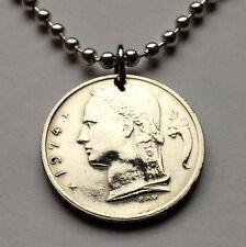 Belgium 1 Franc coin pendant Belgian Ceres lady Flanders Flemish French n000233