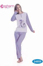 Pyjama femme Long Serafino. Pantalon + Manches longues OGHAM, 24959 Pur Coton