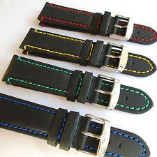 Mustang Negro Reloj Correa De Cuero Acolchado Cosido 20 o 22mm Elección del Color