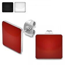 1 Paar eckige Ohrstecker Ohrringe Edelstahl Acryl rot weiß schwarz glänzend