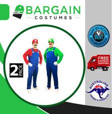 2 Pack Mens Super Mario Luigi Brothers Fancy Dress Party Costume Hat Moustache