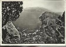 vecchia cartolina di capri marina grande e panorama visto da cetrella spedita