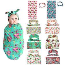 Newborn Baby Infant Swaddle Blanket Sleeping Rug Swaddle Muslin Wrap + Headband