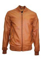 Men's Retro 80'S Leather Bomber Tan Classic Soft Italian Nappa Leather Jacket