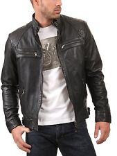 Men's Genuine Lambskin Leather Jacket Black Slim fit Biker Motorcycle jacket-34