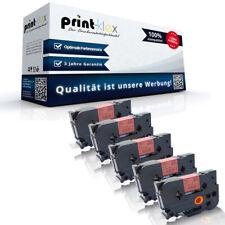 5x Office kompatible Schriftbänder für Brother TZE441 Schwarz auf Rot 18mm-Easy