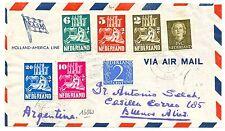 NEDERLAND AIRMAIL 1950  556/560 OP HOLLAND AMERICA LINE  CV NAAR ARGENTINA  F/VF