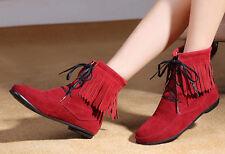 Botines botas zapatos de tacón mujer 1.5 cm como piel flecos cómodo rojo 085