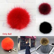 Women Raccoon Fur Fluffy Pom Pom Ball Snap Button Cap Coat DIY Accessories Decor