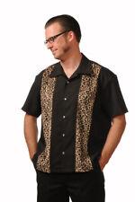 Steady Clothing Leopard Panel Punk Rockabilly Button Down Bowling Shirt ST35320