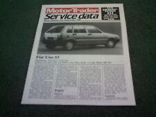September 1985 Fiat Uno 55 MOTOR TRADER SERVICE DATA FOLDER - Brochure
