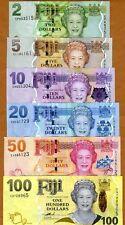 FIJI Set, $2;5;10;20;50;100, P-109;110;111;112;113;114 , 2007-2011, UNC