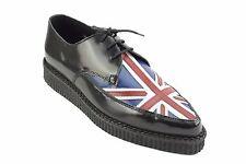 Zapatos de Cuero tierra De Acero Negro Bandera Unión Jack Creepers con Cordones en Punta