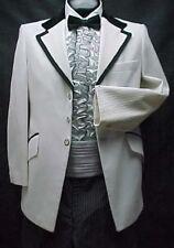 Vintage White Brocade Mens Tuxedo Jacket or 4pc Tux Retro Many Sizes Prom