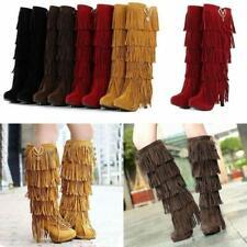 Hot Women High Heel Tassel Fringe Moccasin Boots Layer Stiletto Knee High Shoes