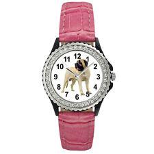 American Mastiff Dog Photo Design Women's Cubic Zirconia Leather Watch Sgp32