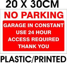 24 H accesso Garage Parcheggio alcun segno! NUOVO! A4! 20x30cm!