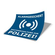 """Aufkleber Sticker """"ALARMGESICHERT"""" blau 5x5cm Sicherheit Einbruch Objektschutz"""