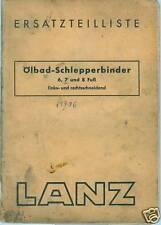 Heinrich LANZ Mannheim Ersatzteilliste von 1943 Ölbad Schlepper-Binder 6 7 8 Fuß