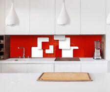 Aufkleber Küchenrückwand 3D Effekt rot weiß Rechtecke Folie Spritzschutz 22A203