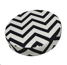 le01r Black Off White Zig Zag Cotton Canvas 3D Round Cushion Cover Custom Size