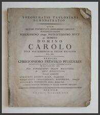 1789 Mathematik Mathematic Taylor-Theorem Theorema Taylorianum Pfleiderer CF