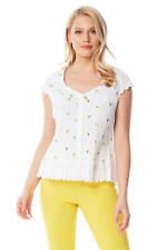 Roman Originals Womens Cotton Floral Cap Sleeve Crinkle Blouse