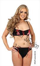 Black/Red Bra & Thong Brief Lingerie/Underwear Set Valentines Gift Fast Post CW