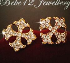 Simulated Diamond/Cross Design Stud Earring/Rose gold/White Gold/GE518