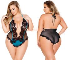 Sexy Lingerie Womens Mesh Sleepwear Teddy Bodysuit Chemise Set Plus Size 3XL-5XL