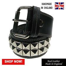 51mm Pyramid Studded Fully Stitched Press Stud Handmade Real Leather Belt UKMade