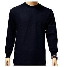 Men's Long Sleeve Waffle Thermal Top Shirt Tee Crew Neck BLACK XL - 2XL - 3XL