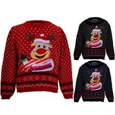 niña Navidad Festivo nieve infantil Rudolph Reno De Navidad Jersey De Punto