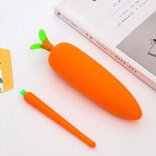 Cute Carrot Cartoon Student Pencil Pen Case Pouch Cosmetic Purse Holder Bag