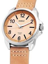 Akzent edle Herren Armbanduhr Beige/Silber Kunstleder-Armband 3ATM Wasserdicht