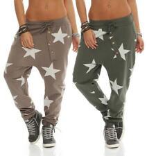 Shirtella Damen Hose Sweatpants Jogginghose Freizeithose Haremshose Stern Muster