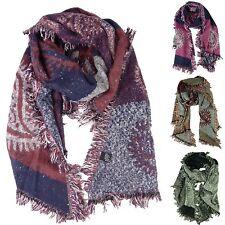 foulard en Laine, Grand Écharpe Paisley motif et franges femmes au toucher doux