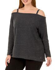 7375eb86fea Danskin Now Women s Plus Active Cold Shoulder Strappy Pullover Sweatshirt