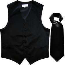 New Men's Solid Tuxedo Vest Waistcoat & Ascot Cravat Black Wedding