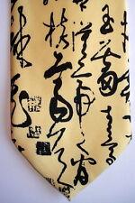 Cravate motif chinois-Calligraphie Chinoise Cao shu-Chinese necktie-Jaune