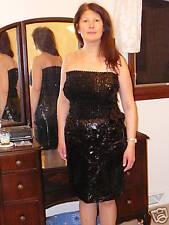 Gently Worn Glenrob Black Sequin PVC Dress SEXY!!