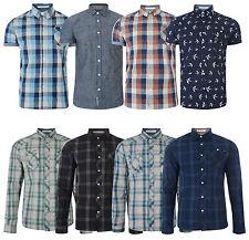 Fina Para Hombre Nuevo Slim Fit Larga Y Manga Corta Camisas A Cuadros Plain patrón