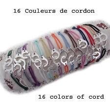 bracelet menotte argenté et cordon dans 16 couleurs au choix