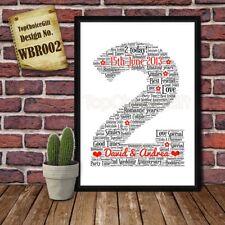 2nd Wedding Anniversary Personalised Present Print wordart greeting poster gift